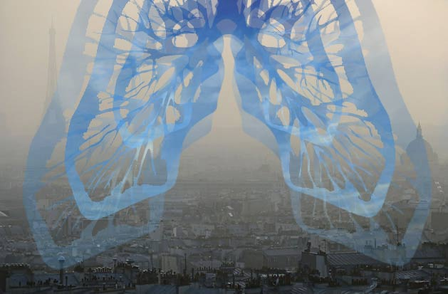 Respire Paris! Collage numérique de véronique egloff - pollution et art