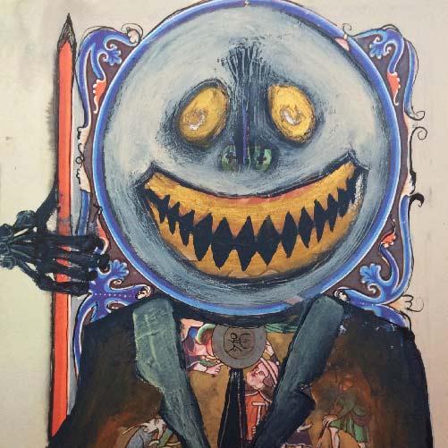 Art et détournement, Plan B : 18 planches, décembre 2014, acrylique, encre de chine, dorure sur reprographies d'enluminure (21x27cm) par veronique egloff