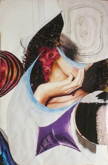femme dans le doute - collage Véronique Egloff-woman