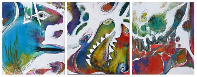Le crocodile et le renard ou de la remise en cause des statut, peinture veronique egloff