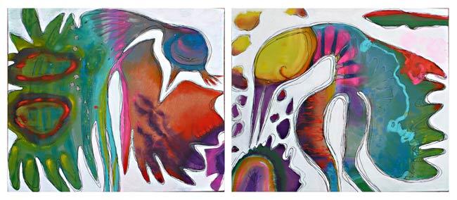 Le paon et la grue ou de la société du paraître, peinture de veronique egloff(65x54x2)