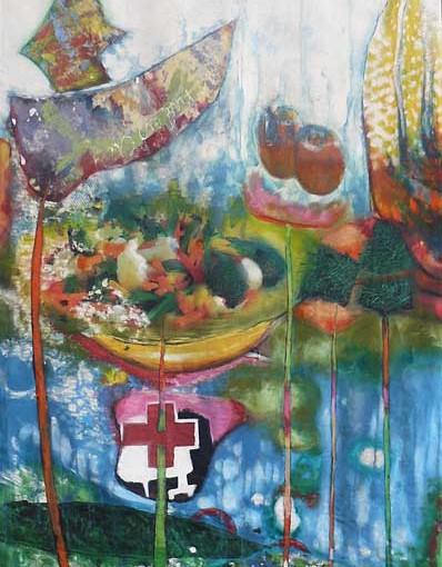 Hors-sol, acrylique sur toile de spi (116x173 cm) par veronique egloff