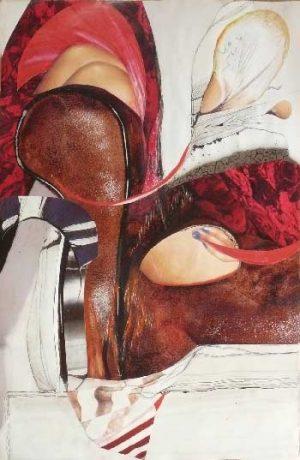 "série ""femme recomposée"" femme au repos -collage (90x60cm)- veronique egloff"