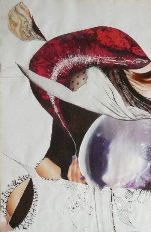 """série """"femme recomposée"""" femme avec ses émotions - collage (90x60cm)- veronique egloff"""