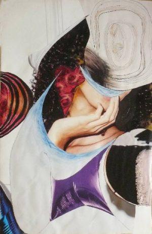 """série """"femme recomposée"""" femme dans le doute -collage (90x60cm)- veronique egloff"""