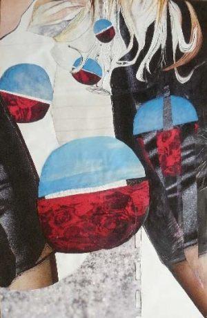 """série """"femme recomposée"""" femme en marche - collage (90x60cm)- veronique egloff"""