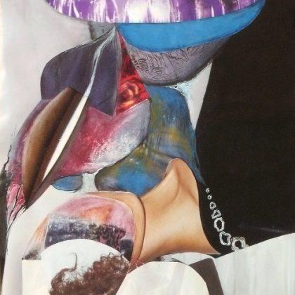 """série """"femme recomposée"""" -femme rêveuse-collage (90x60cm)- veronique egloff"""