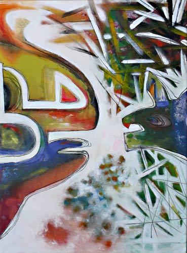 Le boeuf et le chien ou de la meilleure répartition des richesses, peinture veronique egloff
