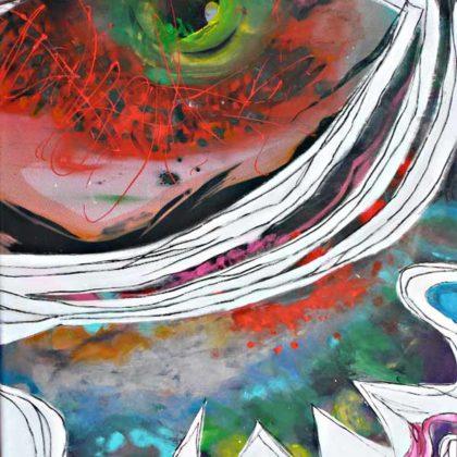 art et condition humaine : Le-lion-et-la-mouche selon Esope peinture de veronique egloff