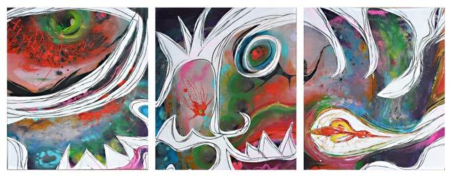 Le lion et le moucheron ou des pouvoirs chahutés, peinture veronique egloff